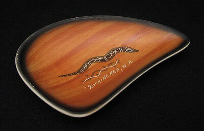 Signed Harry Whyte Australian Pottery Tourist Ware Dish With Aboriginal Design