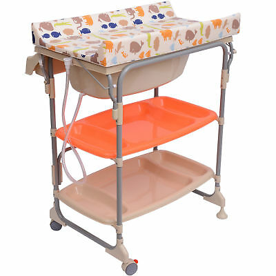 Baby Changing Table Unit Changing Station Storage Trays and Bath with Tub New