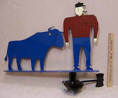 Hand Crafted Weathervane Paul Bunyan & Babe the Blue Ox  Heavy Guage Steel