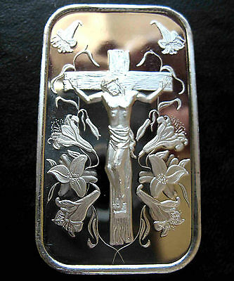 1oz JESUS ON THE CROSS .999 PURE SILVER BAR ~ NEW & SEALED IN VINYL !