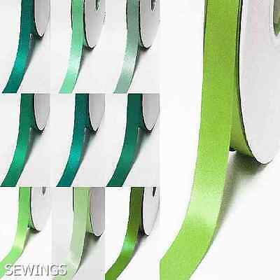 """Double Faced Satin Ribbon 1"""" / 25mm. Wedding 5 Yards, Lime to green Grossgrain"""