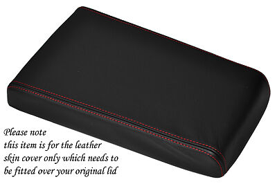 Red Stitching Fits Dodge Nitro 2007-2012 Black Leather Armrest Lid Cover Only