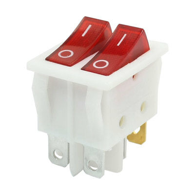 Double SPST On-Off 2 Position 6 Pins Red Neon Light Boat Rocker Switch