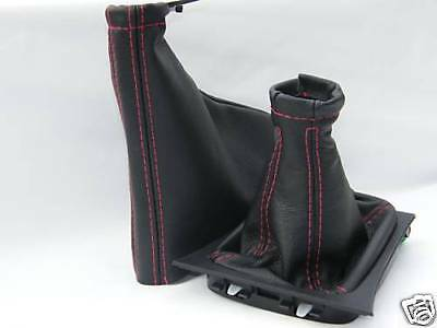 Fits Corsa C Set Of Gaiters Black Leather Red Stitch