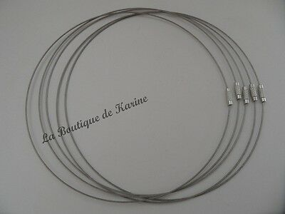 5 Colliers Tour De Cou Gris Semi Rigide Fermoir A Vis - Creation Bijoux Perles