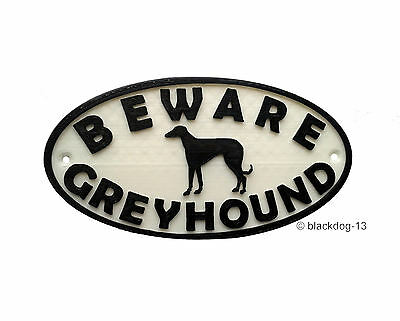 Greyhound & Motif Beware Dog Sign - House Garden Plaque  White/Black