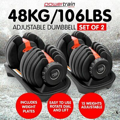 NEW 48kg ADJUSTABLE DUMBBELL SET HOME GYM EXERCISE EQUIPMENT WEIGHTS