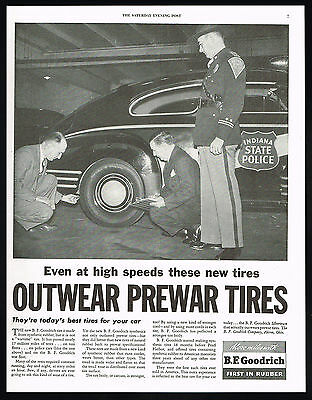 1946 Indiana State Police Car Trooper BF Goodrich Tires Vintage Print Ad