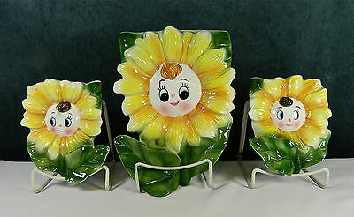 Rare 3-Pce Set Of Sunflower Ceramic Wall Pockets/planters - Made In Japan!