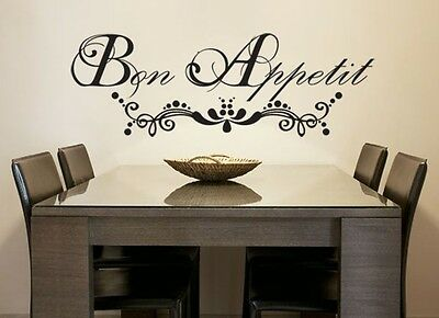 Bon Appetit French vinyl wall decal quote decoration sticker Free Shipping
