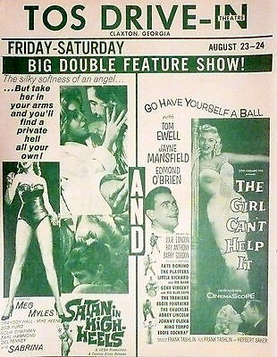 1960s CLAXTON, GA DRIVE-IN FLYER - JAMES MANSFIED in GIRL CAN'T HELP IT