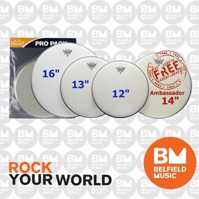 Remo PP-1010-BE Emperor Coated Pro Drum Skin Head Pack 12 13 16'' Inch w/ 14 Amb