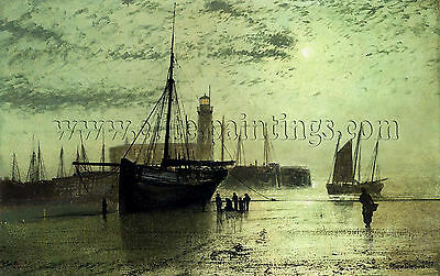 Grimshaw John Atkinson Lighthouse Scarborough artista quadro dipinto olio tela