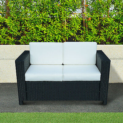 Rattan Garden Furniture 2 Seater Chair Sofa Patio Conservatory Wicker Black New