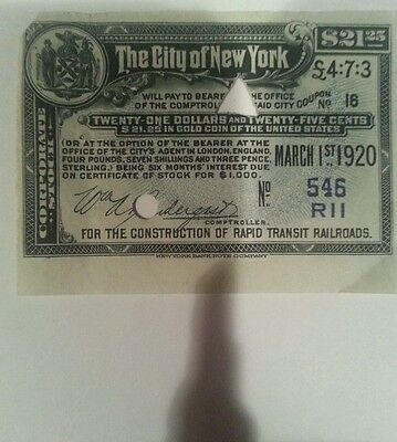 Original New York City Stock Certificate