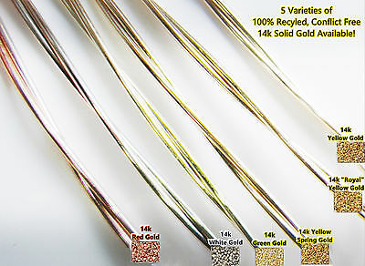 14k SOLID GOLD ROUND WIRE By The Inch - 5 Types 22 g Red(Rose) White Green Royal