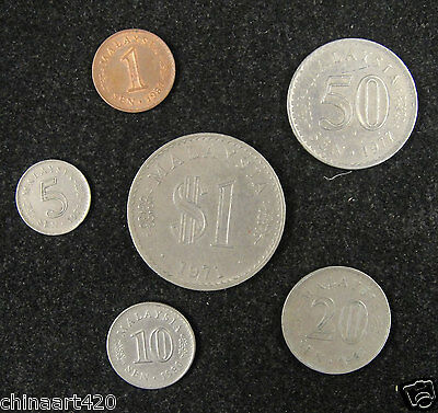 Malaysia coins set of 6 pieces 1971-1981