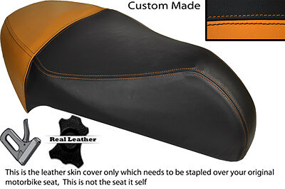Orange & Black Custom Fits Gilera Ice 50 Real Leather Seat Cover Only