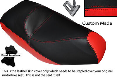 Red & Black Custom Fits Piaggio Xevo 125 Dual Leather Seat Cover