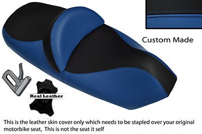 BLACK /& ROYAL BLUE CUSTOM FITS CAGIVA RAPTOR PLANET 125 DUAL LEATHER SEAT COVER