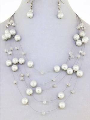 Layered White Faux Pearl Illusionary Style Necklace Earring set