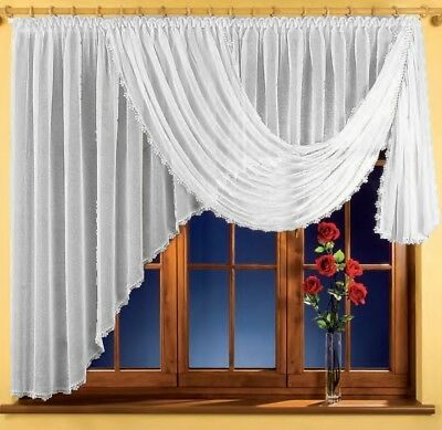 Beautiful Crinkle Net Curtain Cream Home Window decoration Ready Made