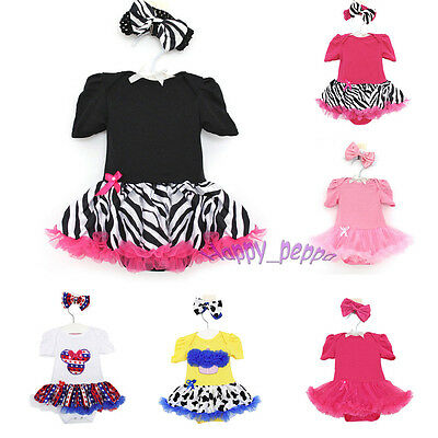 Newborn Infant Baby Girl Headband + Romper Jumpsuit Tutu Dress Clothes Outfit