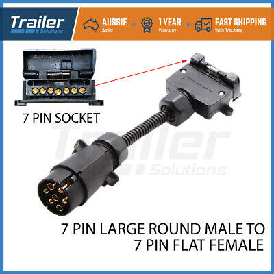 7 Pin Trailer Plug Adapter Round Male To Flat Female Connector Caravan Boat *