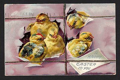 Tuck's Easter Postcard chicks breaking through paper, twine 1908