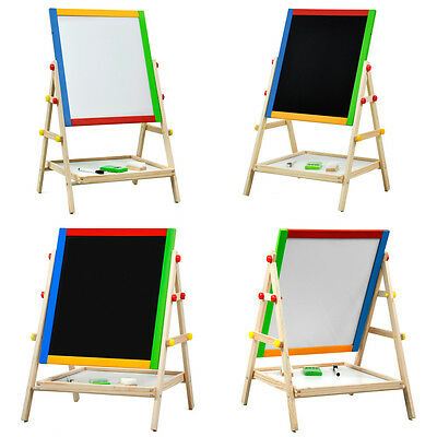Adjustable Children Kids 2 In 1 Black / White Wooden Easel Chalk Drawing Board