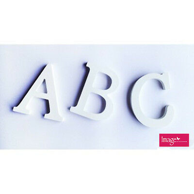 White Wooden Home Decor or Craft Letters   8cm tall Uppercase
