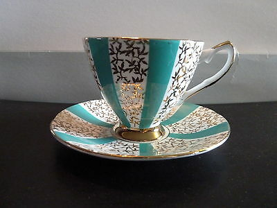 Elizabethan,green/white, gold trim Cup & Saucer