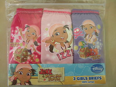 Girls Jake and the Never Land Pirates 3 Pack Briefs Pants - Ages 18mths to 5 yrs
