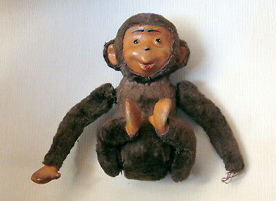 ANTIQUE VINTAGE RUSSIAN ROLLING MONKEY WOOD with PLUSH COVER WIND UP DOLL TOY