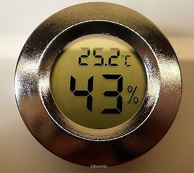 """Digital Cigar Humidor Hygrometer Thermometer 1 3/4"""" Inch Round Silver Face 001-C"""