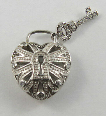 Pe-103 925 Silver Puffed Heart With Key Set With Cz Stones. See Pictures.
