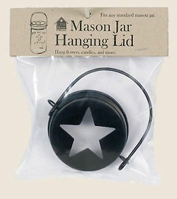 Hanging Mason Jar LID w/ STAR cutout for use with your standard mouth mason jar