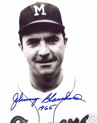 Johnny Blanchard Milwaukee Braves Signed 8X10 Photo Coa