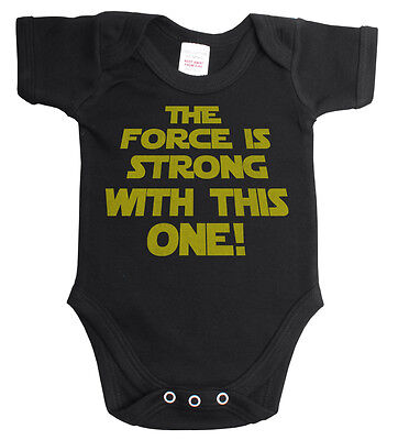 The Force Is Strong Star Wars Funny Babygrow Vest Baby Grow *Sale* ~