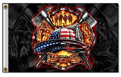 DELUXE BIKER FLAG AMERICAN FIRE FIGHTERS  novelty flag  3 X 5