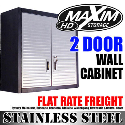MAXIM 2 Door Wall Cabinet Cupboard Toolbox Home Office Shed Garage Storage Shed