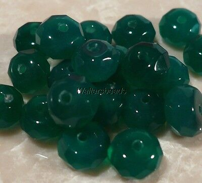 Chrysoprase Stone Heishi Rondelle Bead Lot Emerald Faceted Treated 8 MM (20)