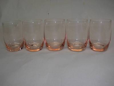 Retro Bohemia Crystal  Art Glass  Pink Sherry Glasses X  5