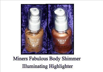 RARE Miners BODY ILLUMINATOR tan highlighter SHIMMER ultra soft GOLD or BRONZE