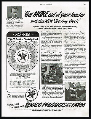 1943 Texaco Lubricants WWII Farm Tractor Check-Up Clock Vintage Print Ad