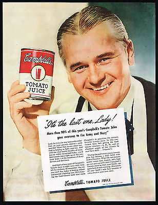 1945 Campbell's Tomato Juice Grocer WWII US Army Navy Vintage Print Ad