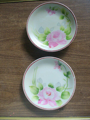 "Two (2) Hand Painted Nippon 6"" Pink Rose Plates - The Johnsmith Studios"