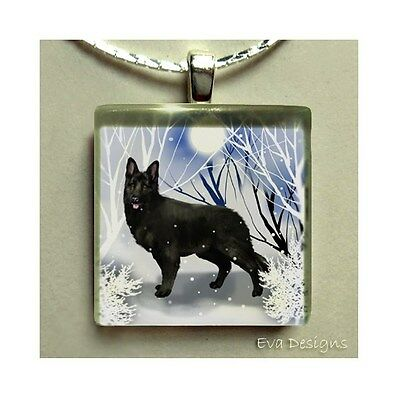 BLACK GERMAN SHEPHERD DOG 1 INCH ART GLASS TILE PENDANT NECKLACE WITH CHAIN