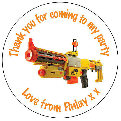 35 Personalised Nerf Gun Army Labels Birthday Stickers Party Thank You Seals 060