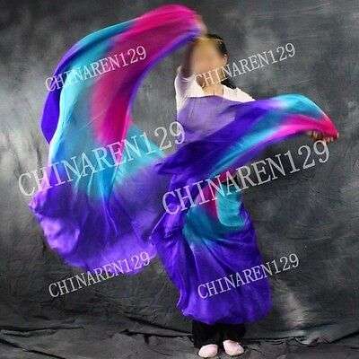 8M//M HALF CIRCLE BELLY DANCE PURE SILK VEIL color blue purple pink orange 2588